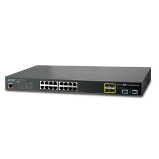 L2+ 16-Port 10/100/1000T + 4-Port 100/1000X SFP + 2-Port 10G SFP+ Managed Ethernet Switch with 48VDC Redundant Power - GS-5220-16T4S2XR - Planet