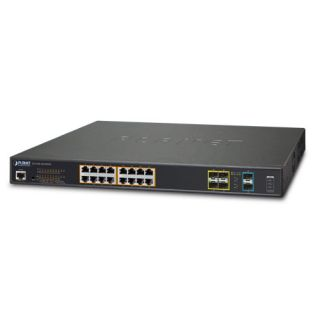 L2+ 16-Port 10/100/1000T Ultra PoE + 4-Port 100/1000X SFP + 2-Port 10G SFP+ Managed Switch with Redundant Power System - GS-5220-16UP4S2XR - Planet