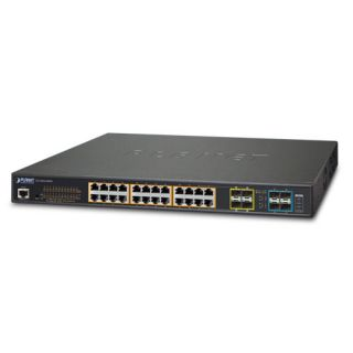 L2+ 24-Port 10/100/1000T 802.3at PoE + 4-Port 10G SFP+ Managed Switch / 400W - GS-5220-24P4X - Planet
