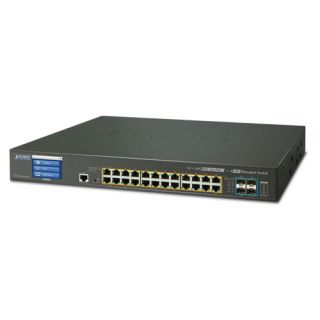 L3 24-Port 10/100/1000T 802.3at PoE + 4-Port 10G SFP+ Managed Switch with Color LCD Touch Screen W/ 48V Redundant Power