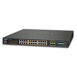 L2+ 24-Port 10/100/1000T Ultra PoE + 4-Port 10G SFP+ Managed Switch with Redundant Power System - GS-5220-24UP4XR - Planet