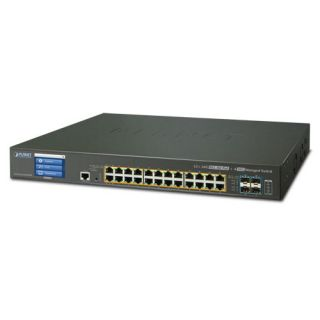 L2+ 24-Port 10/100/1000T Ultra PoE + 4-Port 10G SFP+ Managed Switch with LCD touch screen with Redundant Power (400W)  - GS-5220-24UP4XVR - Planet