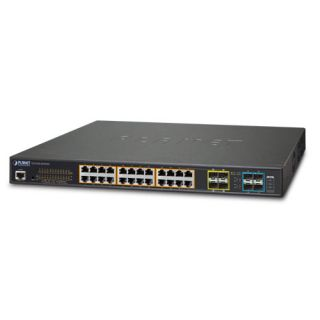L2+ 24-Port 10/100/1000T Ultra PoE + 4-Port 10G SFP+ Managed Switch with Redundant Power System - GS-5220-24UPL4XR - Planet