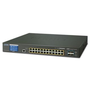 L2+ 24-Port 10/100/1000T Ultra PoE + 4-Port 10G SFP+ Managed Switch with LCD touch screen and Redundant Power (600W) - GS-5220-24UPL4XVR - Planet