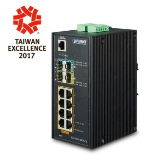 Industrial L2+8-Port 10/100/1000T 802.3at PoE + 2-Port 100/1000X SFP + 2-Port 10G SFP+ Managed Ethernet Switch - IGS-5225-8P2S2X - Planet
