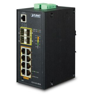 Industrial L2+ 8-Port 10/100/1000T 802.3at PoE + 4-Port 100/1000X SFP Managed Ethernet Switch - IGS-5225-8P4S - Planet