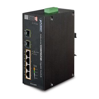 Industrial 4-Port 10/100/1000T 802.3at PoE+ w/ 2-Port 100/1000X SFP Ethernet Switch - IGS-624HPT - Planet