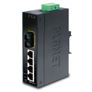 4-Port 10/100Base-TX + 1-Port 100Base-FX Industrial Ethernet Switch with Wide Operating Temperature - ISW-511T - Planet