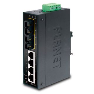 4-Port 10/100Base-TX + 2-Port 100Base-FX Industrial Fast Ethernet Switch - ISW-621 - Planet