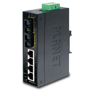4-Port 10/100Base-TX + 2-Port 100Base-FX Industrial Ethernet Switch with Wide Operating Temperature - ISW-621T - Planet