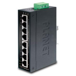 8-Port 10/100Mbps Industrial Fast Ethernet Switch with Wide Operating Temperature - ISW-801T - Planet