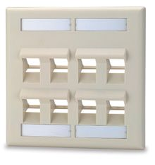 8-Port Double-Gang Angled Keystone Faceplate with Labeling, White  DKFLA-8-WH Signamax