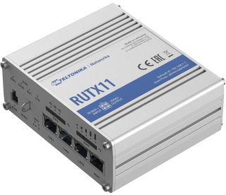Industrial LTE Advanced  router equipped with 4x Gigabit Ethernet ports, WiFi, Dual-SIM, GPS, Bluetooth, a powerful CPU and RutOS software Teltonika